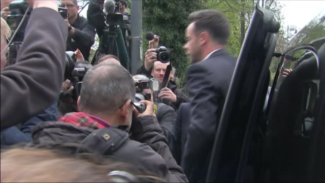 stockvideo's en b-roll-footage met exterior shots of anthony mcpartlin arriving at wimbledon magistrates court to plead guilty to drink driving on 16 april 2018 in london united kingdom - ant mcpartlin