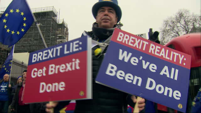 exterior shots of anti brexit protest, protester steve bray holding protest signs on 30 january 2020 in london, united kingdom. - brexit stock videos & royalty-free footage