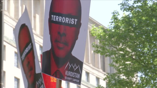 Exterior shots of antiErdogan protesters demonstrating ahead of the arrival of Turkish President Recep Tayyip Erdogan on 14 May 2018 in London United...