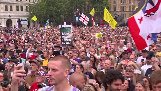 GBR: Anti-lockdown and anti-vaccination protest in Trafalgar Square, London