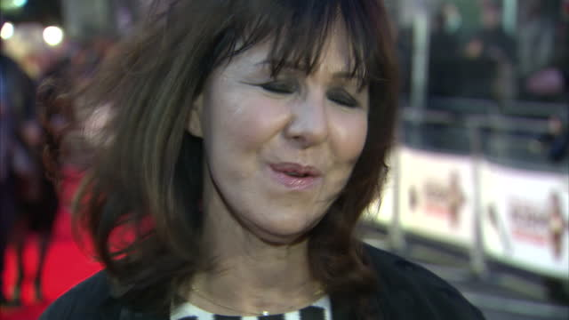 Exterior shots of Arlene Philips giving an interview on the red carpet at The Book of Mormon Premiere at Prince Of Wales Theatre on March 21 2013 in...