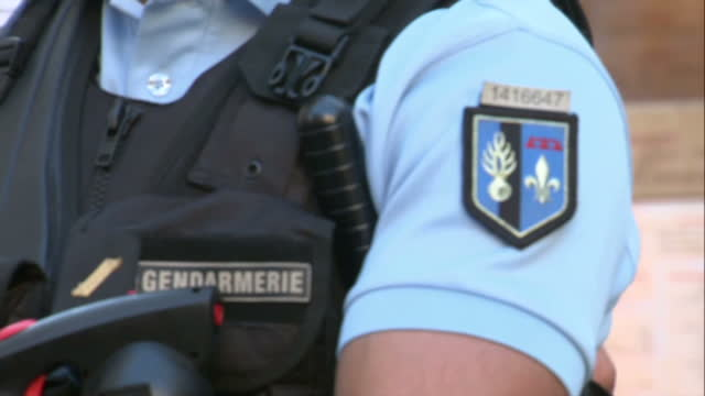 Exterior shots of armed Gendarmerie on patrol outside Nice Cathedral after the Nice terror attack on July 15 2016 in Nice France