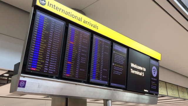 exterior shots of arrivals board at heathrow airport on 29th january 2020 in london. - arrival stock videos & royalty-free footage