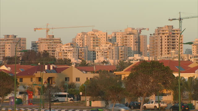 exterior shots of ashkelon's skyline with various apartment blocks etc on march 16 2013 in national harbor maryland - ashkelon stock videos and b-roll footage