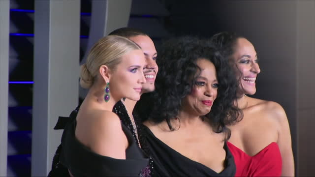 Exterior shots of Ashlee Simpson Evan Ross Diana Ross and Tracee Ellis Ross posing on the red carpet of the 2019 Vanity Fair Oscar Party on 24th...