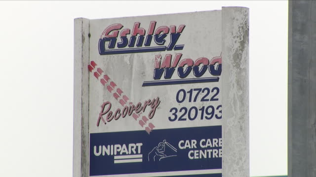 Exterior shots of Ashley Wood Recovery car garage outside Salisbury with police stood guard outside the garage where the car of former spy Sergei...