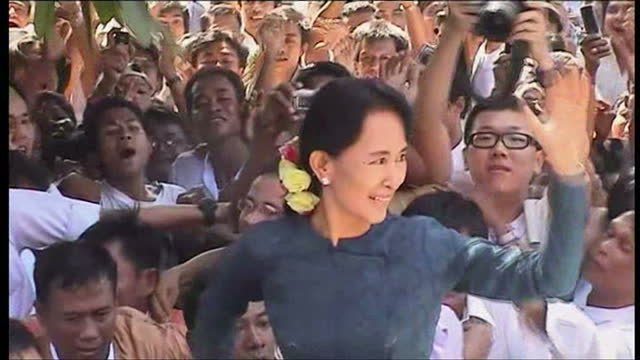 Exterior shots of Aung San Suu Kyi being cheered on by crowds following her release after 21 years of being under arrest in Burma Aung San Suu Kyi...