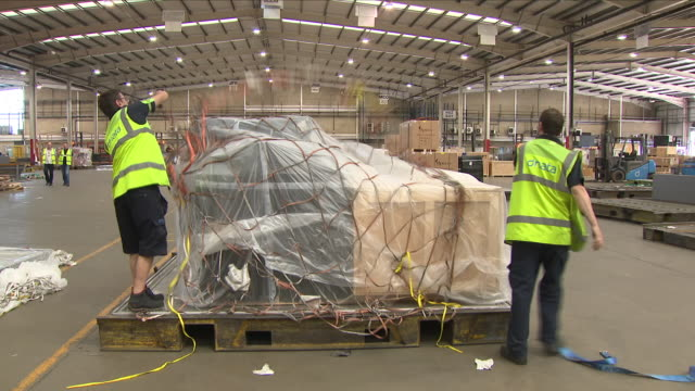 exterior shots of baggage handlers arranging pallets of cargo in heathrow's cargo centre prior to loading on board planes on 25 june 2018 in london,... - 国境点の映像素材/bロール