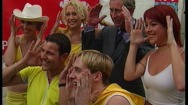 exterior shots of band members of steps meeting prince charles including faye tozer ian h watkins lisa scottlee lee latchford evans and claire... - pop musician stock videos & royalty-free footage