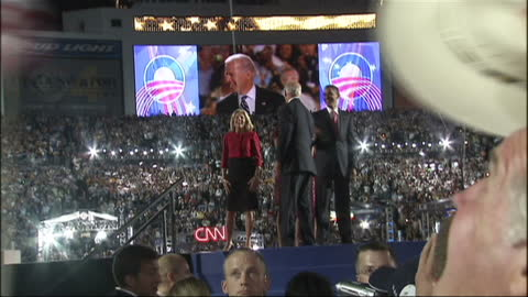 exterior shots of barack obama and joe biden waving to cheering crowds at the 2008 democratic convention at which obama accepted the party nomination... - 2008 bildbanksvideor och videomaterial från bakom kulisserna