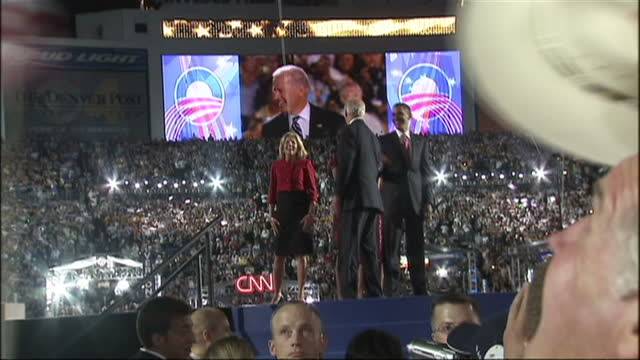 exterior shots of barack obama and joe biden waving to cheering crowds at the 2008 democratic convention at which obama accepted the party nomination... - 2008 stock videos and b-roll footage