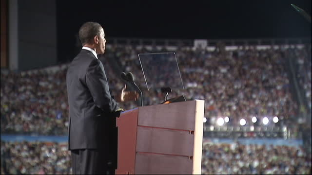 exterior shots of barack obama speaking on stage during the 2008 democratic convention at which he announced his acceptance of the democratic... - 2008 stock videos & royalty-free footage