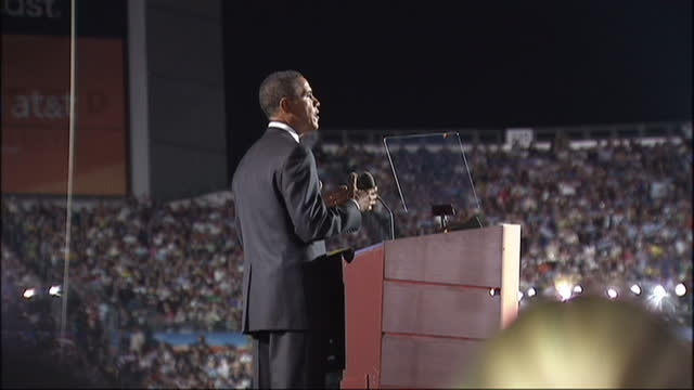 exterior shots of barack obama speaking on stage during the 2008 democratic convention at which he announced his acceptance of the democratic... - nomination stock videos & royalty-free footage