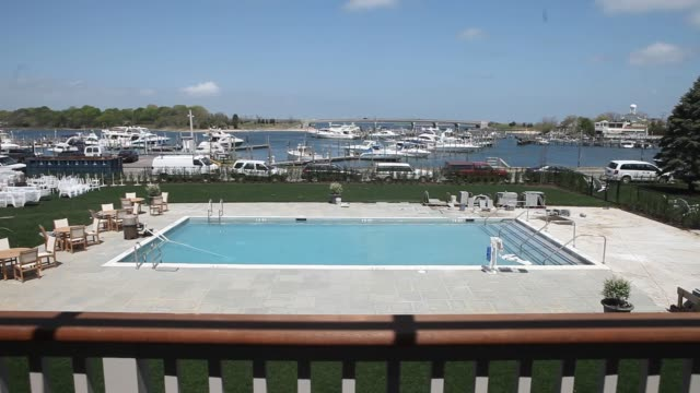 Exterior shots of Barons Cove Hotel and Restaurant in Sag Harbor NY Monday May 11 2015 Shots Wide shots pan across the hotel grounds from a second...