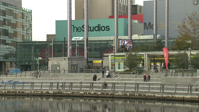 exterior shots of bbc media city campus on october 15, 2013 in salford, manchester, england. - salford quays stock videos & royalty-free footage