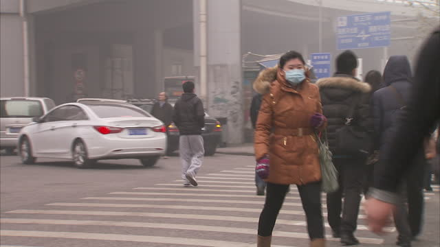 vídeos de stock e filmes b-roll de exterior shots of beijing commuters wearing face masks to protect against smog, pollution. beijing commuters wearing face masks on january 30, 2013... - nevoeiro fotoquímico