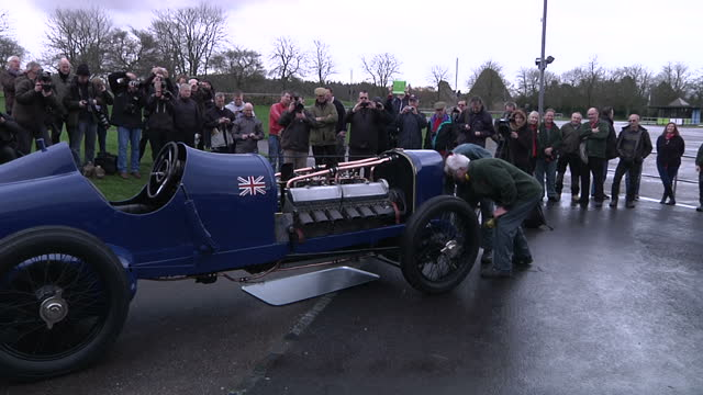 exterior shots of 'bluebird sir malcolm campbell's sunbeam 350hp and first car to break the 150 mph world land record on display and trying to be... - hampshire england stock videos and b-roll footage