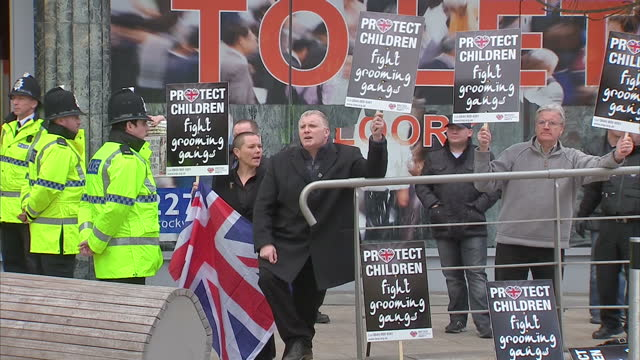 exterior shots of bnp protesters demonstrating outside liverpool crown court over grooming case bnp protesters protest against grooming on may 09... - merseyside stock videos & royalty-free footage