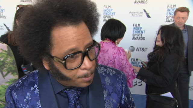 exterior shots of boots riley interview on the red carpet of the 2019 film independent spirit awards on 23rd february 2019 in santa monica california - film independent spirit awards stock videos & royalty-free footage