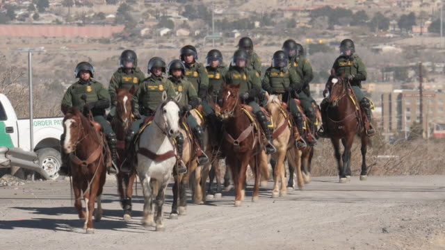 exterior shots of border horse patrol training near the us mexico border 4th february 2019 in el paso untied states - untied stock videos and b-roll footage