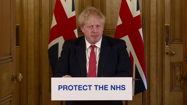 exterior shots of boris johnson british prime minister giving a daily press conference update on the coronavirus situation in the uk announcing the... - routine stock videos & royalty-free footage