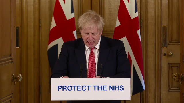 exterior shots of boris johnson, british prime minister, giving a daily press conference update on the coronavirus situation in the uk, announcing... - routine stock videos & royalty-free footage