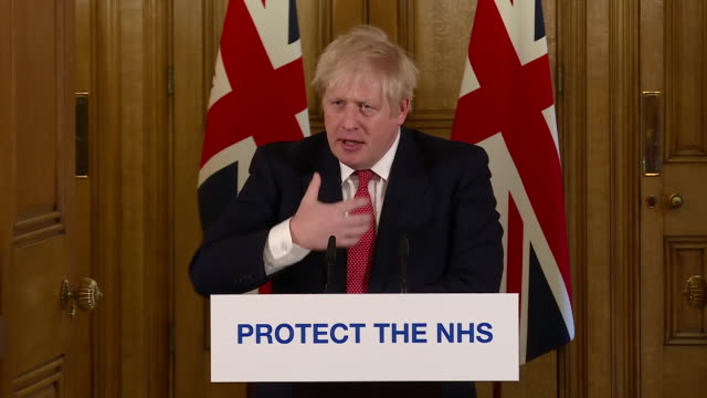 exterior shots of boris johnson british prime minister giving a daily press conference update on the coronavirus situation in the uk announcing the... - communication stock videos & royalty-free footage