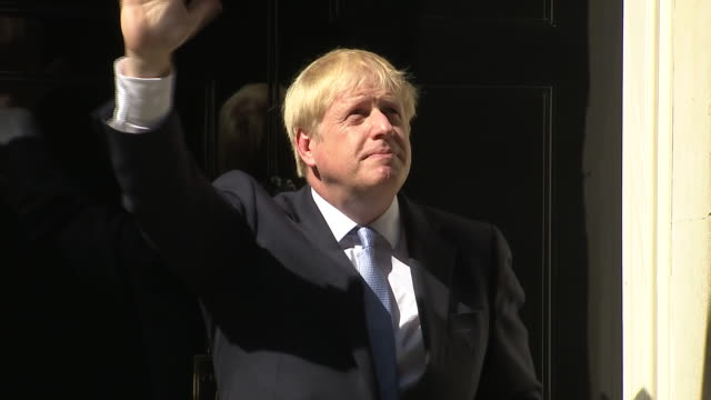 exterior shots of boris johnson for the first time as prime minister entering 10 downing street on 24th july 2019 in london, england. - prime minister stock videos & royalty-free footage