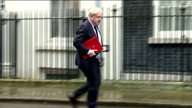Exterior shots of Boris Johnson MP arriving at Downing Street for a cabinet meeting on 24 January 2018 in London United Kingdom