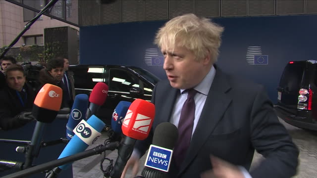 Exterior shots of Boris Johnson MP Foreign Secretary speaking to the press regarding the current relationship between Russia and the United Kingdom...