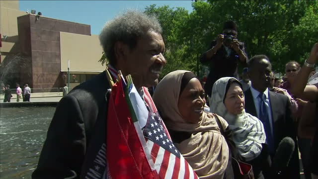 Exterior shots of boxing promoter Don King posing for photographs outside Freedom Hall ahead of an Islamic prayer service in memory of Muhammad Ali>>...