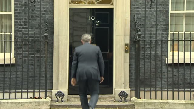 Exterior shots of Brandon Lewis arriving at Number 10 Downing Street to meet with Theresa May before being appointed as Conservative party chairman...