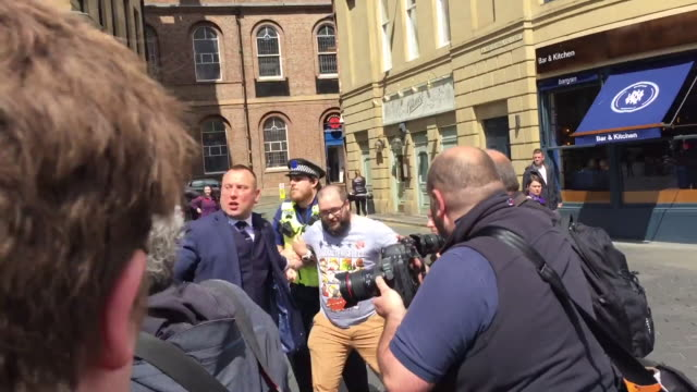 exterior shots of brexit party founder nigel farage being covered in milkshake by a protester whilst walking on the campaign trail on 20 may 2019 in... - smoothie stock videos & royalty-free footage
