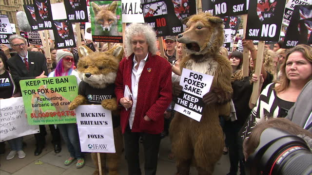 Exterior shots of Brian May former lead guitarist in the rock band Queen posing for photo with animal rights protesters at anti fox hunting and 'keep...