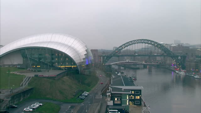 exterior shots of bridges across the river tyne including thetyne bridge shots of the sage gateshead and newcastle quayside on december 17 2016 in... - gateshead stock videos and b-roll footage