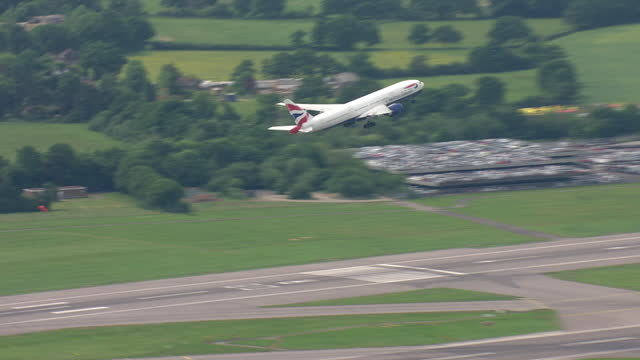 exterior shots of british airways plane take off from runway at gatwick airport on 28 may 2018 in england, united kingdom - aerial view stock videos & royalty-free footage