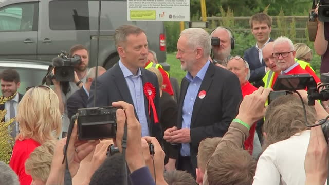 Exterior shots of British Labour Party Leader Jeremy Corbyn arriving at a rally for the General Election and greeting Matt Rodda Labour's candidate...