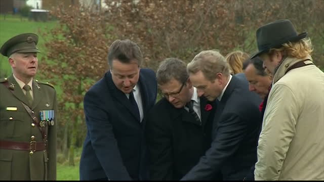 exterior shots of british prime minister david cameron and irish prime minister enda kenny viewing the site of the world war one messines ridge... - 戦争記念碑点の映像素材/bロール