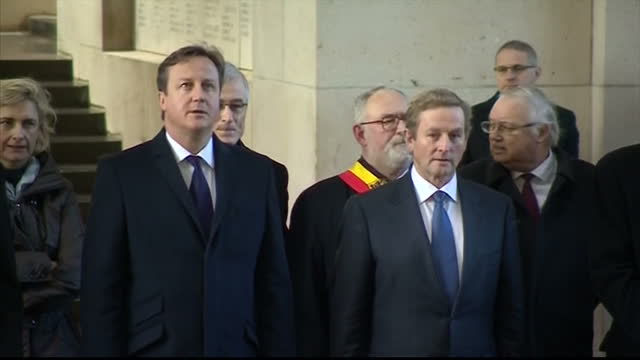 exterior shots of british prime minister david cameron and irish prime minister enda kenny visiting the menin gate with belgian officials david... - 戦争記念碑点の映像素材/bロール