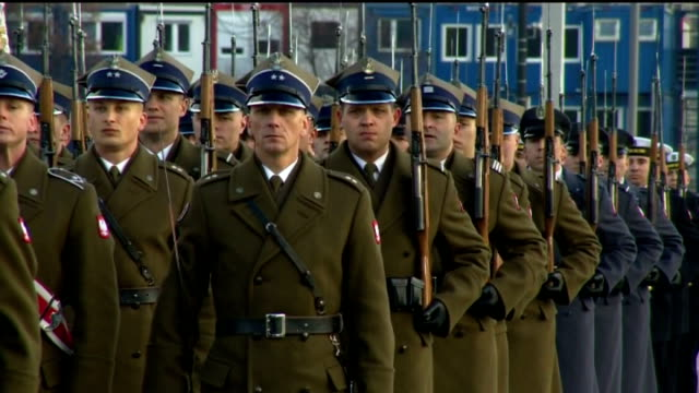 exterior shots of british prime minister david cameron inspecting troops at a parade of polish honour guards at pilsudski square on december 10 2015... - army stock-videos und b-roll-filmmaterial