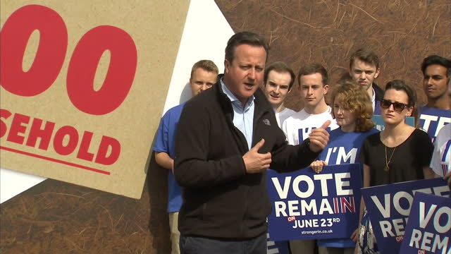 exterior shots of british prime minister david cameron mp speaking to his constituency about the eu referendum part four on may 14 2016 in whitby... - referendum stock videos & royalty-free footage