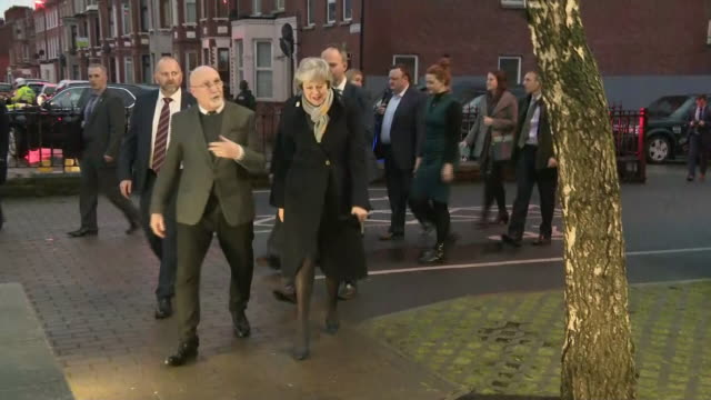 exterior shots of british prime minister theresa may arriving at a community center on her visit to belfast on 5th february 2019 in belfast northern... - governmental occupation stock videos & royalty-free footage