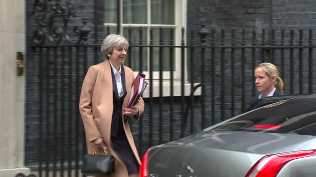 Exterior shots of British Prime Minister Theresa May departing number 10 Downing Street after having sent letter invoking Article 50 to Donald Tusk...