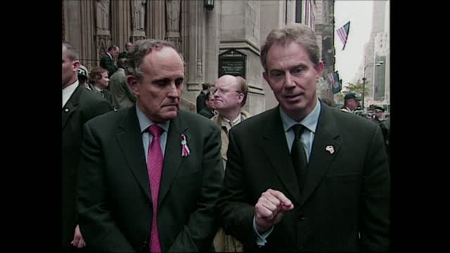 exterior shots of british prime minister walking down stairs of church with new york mayor rudolph guliani and giving statement to press re 9/111... - september 11 2001 attacks stock videos & royalty-free footage