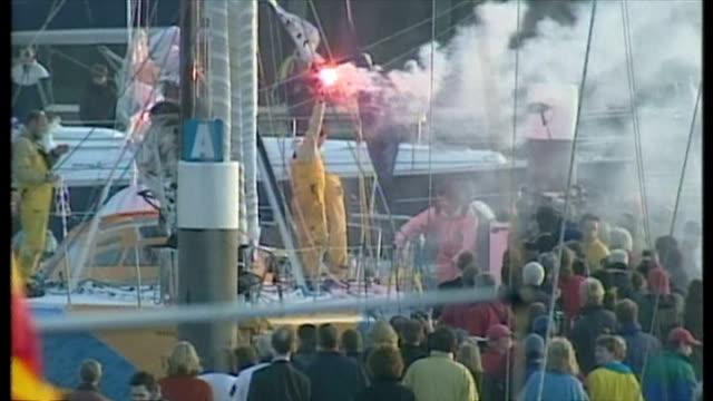exterior shots of british yachtswoman ellen macarthur on the deck of her kingfisher yacht after winning the vendee globe round the world race,... - circumnavigation stock videos & royalty-free footage