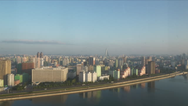 Exterior shots of buildings and Pyongyang's skyline on the 8th September in Pyongyang North Korea