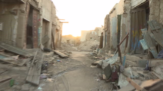 exterior shots of buildings completely destroyed from bombing on december 13 2016 in sa'ada yemen - yemen stock videos & royalty-free footage