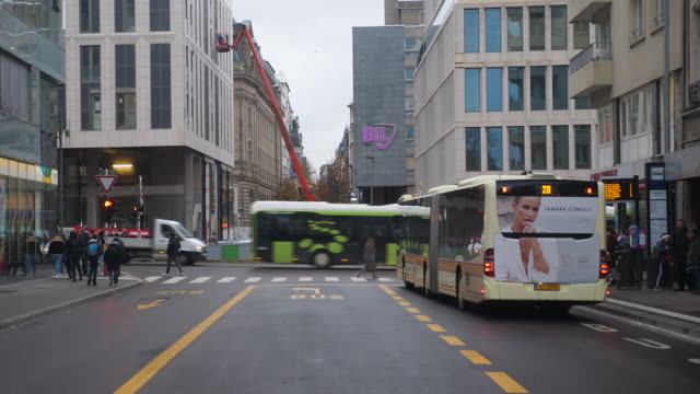 exterior shots of buses driving around luxembourg city on december 23, 2019 luxembourg, luxembourg. - luxembourg benelux stock videos & royalty-free footage