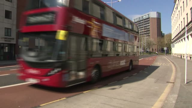 exterior shots of buses driving in city centre during the covid19 outbreak on 8 april 2020 in bristol united kingdom - tennessee stock videos & royalty-free footage