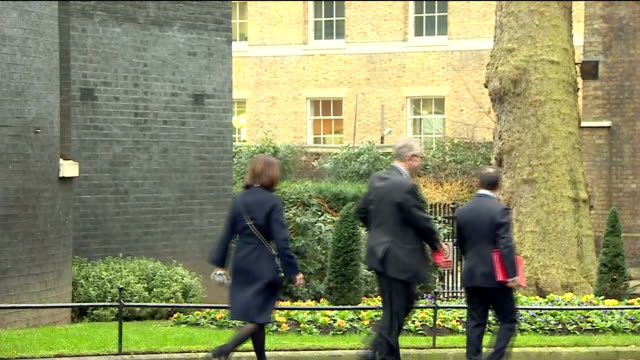 exterior shots of cabinet ministers departing from number 10 downing street including alun cairns secretary of state for wales chief secretary to the... - michael gove stock-videos und b-roll-filmmaterial